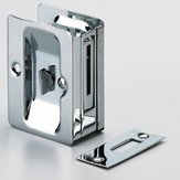 Pocket Door Pull with Privacy Lock - Rectangular
