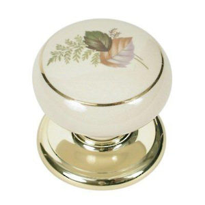 Porcelain Knobs - Brass and Almond with Gold Line