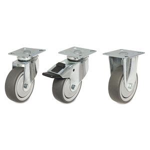 Industrial Gray Rubber Casters