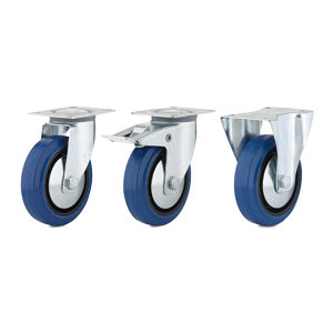 Industrial Blue Elastic Rubber Caster