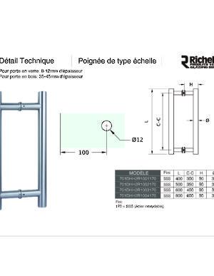 Poign e en acier inoxydable de 30 mm 1 3 16 po de - Porte interieur epaisseur 30 mm ...