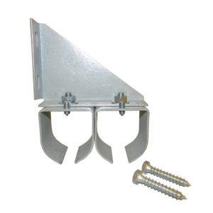 Double Galvanized Steel Round Rail Connection Bracket with Lag Screws for Wall Mounting