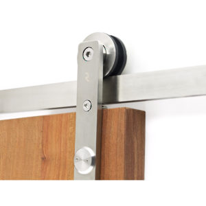 Strap Mount with Flat Bar Running Rail for Wood Doors