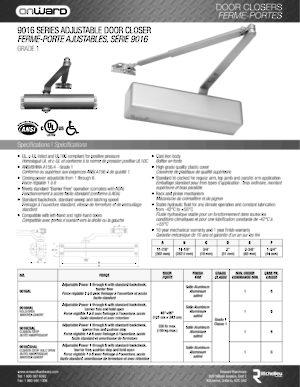 9016 Series Adjustable Power Door Closer Onward Hardware