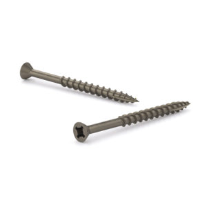 Plain Wood Screw, Flat Head With Nibs, Quadrex Drive, Coarse Thread, Type 17 Point