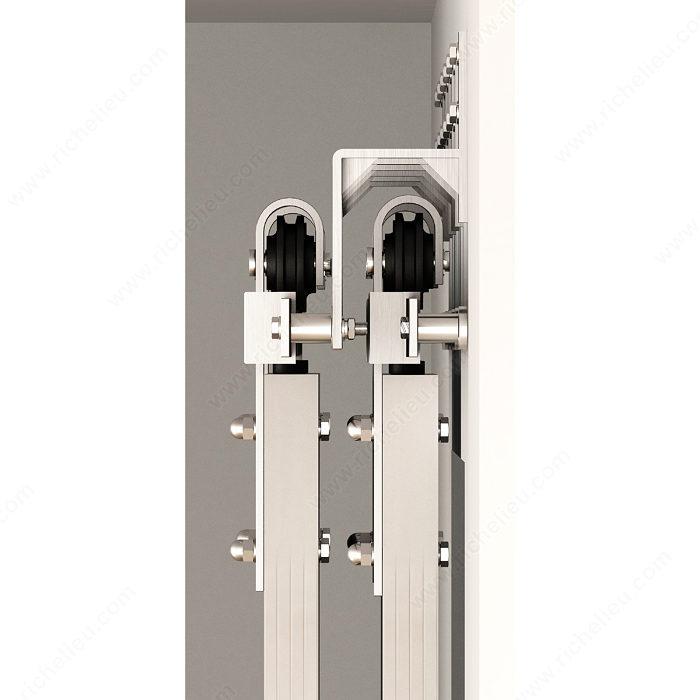 Support mural pour porte coulissante type porte de grange sur rail plat q - Quincaillerie pour porte de grange coulissante ...