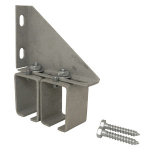 Double Adjustable Galvanized Steel Box Rail Splice Bracket with Lag Screws for Wall Mounting