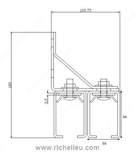 Single Zinc Plated Steel Box Rail Bracket Overhead Mount 24651392xv Onward Hardware