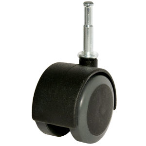 Soft Tread Dual-Wheel Furniture Caster - With Wood Stem